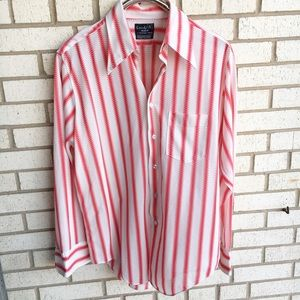 Vintage Polyester Button Down Shirt Red White 16.5